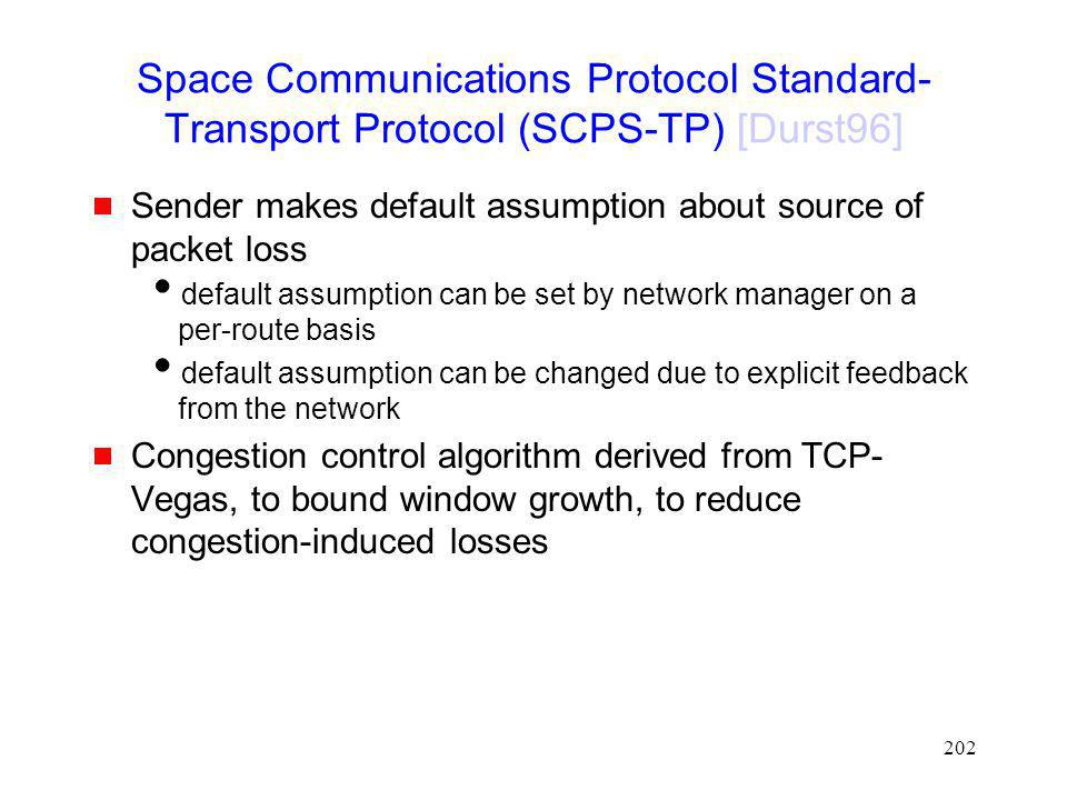 Space Communications Protocol Standard-Transport Protocol (SCPS-TP) [Durst96]
